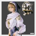 1girl absurdres armor blonde_hair border cross cross_earrings danielle_brindle earrings eyebrows_visible_through_hair floral_print grey_border habit helmet highres huge_filesize jewelry knight medieval nun original short_hair solo yellow_eyes