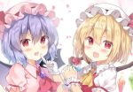 2girls :d ascot bangs bat_wings black_wings blonde_hair blush bow brooch collared_shirt commentary_request crystal eyebrows_visible_through_hair fang flandre_scarlet flower frilled_shirt_collar frills gloves hair_between_eyes hand_up hat hat_bow highres holding holding_flower index_finger_raised jewelry looking_at_viewer mob_cap multiple_girls open_mouth pink_headwear pink_shirt puffy_short_sleeves puffy_sleeves purple_hair red_bow red_eyes red_flower red_neckwear red_rose red_vest remilia_scarlet rose saeki_sora shirt short_sleeves siblings sisters smile touhou upper_body vest white_gloves white_headwear white_shirt wings wrist_cuffs yellow_neckwear