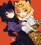 2girls animal_ear_fluff animal_ears black_hair black_jaguar_(kemono_friends) black_neckwear blonde_hair blue_eyes bow bowtie center_frills commentary_request cowgirl_position elbow_gloves eyebrows_visible_through_hair fur_collar gloves hatagaya high-waist_skirt jaguar_(kemono_friends) jaguar_ears jaguar_girl jaguar_print jaguar_tail kemono_friends multicolored_hair multiple_girls open_mouth pleated_skirt print_gloves print_skirt purple_shirt shirt short_hair short_sleeves skirt straddling tail white_shirt yellow_eyes