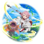 1girl breastplate cape floating_hair freckles highres holding holding_shield lisbeth_(sao-alo) looking_at_viewer mace neck_ribbon official_art open_mouth panties pink_hair pointy_ears red_ribbon ribbon shield shiny shiny_hair short_hair shoulder_armor solo striped striped_ribbon sword_art_online transparent_background underwear waist_cape weapon white_cape white_panties