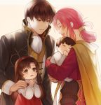 2boys 2girls :d altenna_(fire_emblem) aym_(ash3ash3ash) baby blush brother_and_sister brown_coat brown_eyes brown_hair cape closed_eyes coat commentary_request dress ethlyn_(fire_emblem) family father_and_son fire_emblem fire_emblem:_genealogy_of_the_holy_war folded_ponytail hair_ornament hairband hairclip highres holding_baby husband_and_wife laughing leif_(fire_emblem) long_hair mother_and_daughter mother_and_son multiple_boys multiple_girls open_mouth pink_hair quan_(fire_emblem) red_dress red_hairband red_shirt shirt siblings smile yellow_cape younger