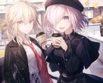 2girls artoria_pendragon_(all) black_coat blonde_hair blush breasts closed_mouth coat collarbone collared_shirt eyebrows_visible_through_hair fate/grand_order fate_(series) hair_over_one_eye haizome_senri large_breasts long_sleeves looking_at_viewer mash_kyrielight medium_breasts multiple_girls necktie parted_lips purple_hair red_neckwear saber_alter shirt short_hair smile violet_eyes white_shirt yellow_eyes