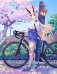 1girl absurdres arrow bicycle blue_shorts blue_sky casual cherry_blossoms commentary_request day fate/grand_order fate_(series) ground_vehicle hair_between_eyes highleg_shorts highres horns_through_headwear huge_filesize light_blush light_smile long_hair looking_at_viewer ningonmou oni_horns quiver red_eyes red_horns shirt shoes shorts sidewalk silver_hair sky sneakers solo tomoe_gozen_(fate/grand_order) tree visor_cap white_shirt
