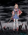 1girl arrow blonde_hair blood blood_on_face blue_cattail bow bowtie gloves green_eyes long_hair open_mouth sartha solo sword tales_of_erin thigh-highs torn_clothes weapon