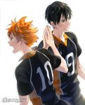 2boys bangs black_hair collared_shirt from_side gearous haikyuu!! hair_between_eyes high_five hinata_shouyou kageyama_tobio multiple_boys open_mouth orange_eyes orange_hair shirt short_hair short_sleeves sportswear sweat volleyball volleyball_uniform