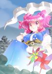 1girl blue_sky breasts clouds commentary_request hair_bobbles hair_ornament mizuki_hitoshi onozuka_komachi pink_eyes pink_hair pinwheel rock scythe short_sleeves sitting sky smile solo touhou twintails