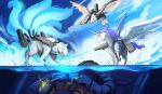 afloat alicorn azur_lane bald_eagle bird blue_sky clouds cloudy_sky eagle flight_deck flying fox highres machinery mecha multiple_tails no_humans ocean pegasus phandit_thirathon sky submerged tail unicorn