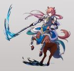1boy animal_ears armor artist_name blue_cattail brown_hair centaur fur_trim gloves grey_background highres horse_ears injury long_hair low_ponytail pink_eyes polearm renniscan solo spear tales_of_erin water weapon