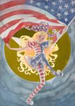 1girl american_flag american_flag_dress american_flag_legwear blonde_hair clownpiece commentary_request dress fairy_wings flag full_body full_moon grin hat head_tilt holding holding_flag jester_cap leg_up long_hair looking_at_viewer misawa_hiroshi moon neck_ruff no_shoes pantyhose pink_eyes polka_dot_hat pom_pom_(clothes) short_dress short_sleeves smile solo striped striped_legwear teeth touhou traditional_media very_long_hair watercolor_(medium) wings