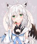 1girl animal_ears braid collarbone commentary_request detached_sleeves food fox_ears fox_tail fruit green_eyes hair_between_eyes hair_ribbon happy_birthday highres hololive long_hair looking_at_viewer nanakagura portrait ribbon shirakami_fubuki side_braid silver_hair smile solo strawberry tail virtual_youtuber
