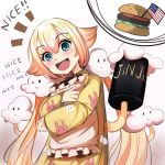 1girl :d absurdres american_flag animal_print blonde_hair blue_eyes blues_(artist) blush bunny_print cloud_print clouds commentary core63 english_text eyebrows_visible_through_hair food gradient_hair hair_between_eyes hamburger happy highres long_hair looking_at_viewer mahou_shoujo_ikusei_keikaku_unmarked meme multicolored_hair nemurin open_mouth pajamas pillow pillow_hug pink_hair simple_background smile solo standing streaked_hair text_focus two-tone_hair very_long_hair vrchat white_background yellow_pajamas