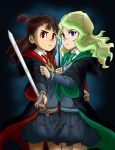 a50926123 absurdres blue_eyes brown_hair couple diana_(sailor_moon) diana_cavendish green_neckwear gryffindor hand_on_another's_arm hand_on_another's_hip harry_potter highres hogwarts_school_uniform kagari_atsuko little_witch_academia long_hair long_sleeves looking_at_viewer multicolored_hair necktie parody red_eyes red_neckwear robe school_uniform simple_background skirt slytherin sword thighs two-tone_background two-tone_hair uniform wand wavy_hair weapon yuri