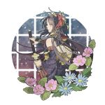 1boy back bare_shoulders black_hair blue_flower blush chagashi closed_mouth commentary_request flower hair_ornament holding holding_sword holding_weapon japanese_clothes jirou_tachi katana long_hair looking_at_viewer male_focus pink_flower sheath sleeveless solo sword touken_ranbu weapon yellow_eyes