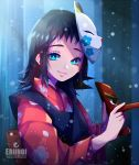 1girl artist_name black_hair blue_eyes blurry blurry_background closed_mouth floral_print forest fox_mask fuumeh highres holding holding_mask japanese_clothes kimetsu_no_yaiba kimono looking_at_viewer makomo_(kimetsu) mask mask_on_head medium_hair nature print_kimono red_kimono smile snowing solo watermark