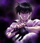 1boy black_gloves black_hair gloves jigoku_sensei_nube looking_at_viewer male_focus nueno_meisuke red_eyes short_hair single_glove smile solo upper_body wauwa