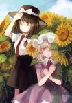 2girls arm_up black_headwear black_skirt blonde_hair blue_sky blush bow breasts brown_eyes brown_hair clouds commentary_request day dress feet_out_of_frame field flower flower_field hair_bow hat hat_bow highres maribel_hearn mob_cap mozukuzu_(manukedori) multiple_girls neck_ribbon necktie one_eye_closed one_eye_covered outdoors parted_lips purple_dress red_neckwear red_ribbon ribbon shirt short_hair short_sleeves skirt sky small_breasts standing sunflower touhou usami_renko violet_eyes white_bow white_headwear white_shirt