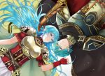 1boy 1girl aqua_hair armor aym_(ash3ash3ash) black_cape blue_eyes blue_hair breastplate brother_and_sister brown_gloves cape commentary_request earrings eirika eirika_(fire_emblem) ephraim ephraim_(fire_emblem) family fingerless_gloves fire_emblem fire_emblem:_seisen_no_keifu fire_emblem:_the_sacred_stones gloves green_eyes green_hair intelligent_systems jewelry long_hair lying nintendo on_back pauldrons red_gloves red_shirt shirt short_hair siblings skirt super_smash_bros. teenage weapon white_skirt yellow_cape