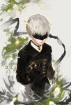 1boy black_blindfold black_gloves blindfold closed_mouth glitch gloves highres jewelry makashikami male_focus necklace nier_(series) nier_automata solo white_hair yorha_no._9_type_s