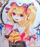 1girl adapted_costume arm_up black_choker blonde_hair brooch choker colored_pencil_(medium) commentary_request cravat cross cross_earrings cross_necklace cup dated drinking_glass earrings fangs fingernails flandre_scarlet gunjou_row hair_between_eyes hat hat_ribbon head_tilt holding holding_cup jewelry looking_at_viewer mob_cap necklace open_mouth raglan_sleeves red_eyes red_nails red_vest red_wine ribbon shikishi shirt short_hair short_sleeves side_ponytail simple_background slit_pupils solo touhou traditional_media underbust vest white_background white_headwear white_shirt wine_glass wings wrist_cuffs yellow_neckwear