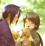 blush brown_hair child closed_eyes dog happy japanese_clothes kimono mizuhara_aki ponytail scar shiba_inu smile yukata