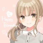 1girl bangs blush brown_dress brown_eyes character_name closed_mouth collar dress frilled_collar frills happy_birthday heart light_brown_hair long_hair looking_at_viewer nijisanji pink_background shigure_ui simple_background sister_cleaire smile solo virtual_youtuber