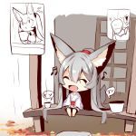 ! 1girl :< :d ^_^ animal_ear_fluff animal_ears autumn_leaves bangs barefoot beamed_sixteenth_notes chibi closed_eyes closed_mouth commentary_request eighth_note eyebrows_visible_through_hair flying_sweatdrops fox_ears fox_girl fox_tail grey_hair hair_between_eyes holding japanese_clothes kimono long_hair long_sleeves musical_note obi open_mouth original patches rain sash sidelocks sitting smile speech_bubble spoken_exclamation_mark tail tail_raised veranda very_long_hair white_kimono wide_sleeves yuuji_(yukimimi) |_|