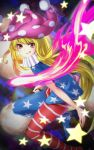 1girl american_flag_dress american_flag_legwear bangs blonde_hair blue_dress blue_legwear clownpiece commentary_request dress eyebrows_visible_through_hair feet_out_of_frame fire flame grin hat highres jester_cap long_hair looking_at_viewer mikami_yuuki_(nl8you) neck_ruff pantyhose partial_commentary purple_headwear red_dress red_eyes red_legwear short_sleeves smile solo star star_print striped striped_dress striped_legwear thighs touhou v-shaped_eyebrows very_long_hair