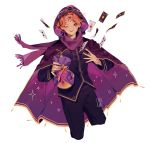 1boy artist_name bag cape card catallarii cinnamon_cookie cookie_run earrings highres holding holding_bag holding_pouch hood jewelry long_sleeves one_eye_closed orange_hair pants personification pouch purple_cape purple_scarf scarf short_hair simple_background smile solo tattoo white_background