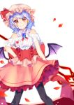 1girl absurdres aiko_ichigocchi alternate_costume bat_wings black_legwear brooch corset dress feet_out_of_frame hand_on_hip highres jewelry lavender_hair looking_at_viewer petals red_eyes remilia_scarlet short_hair simple_background smile solo spear_the_gungnir strapless strapless_dress touhou wings