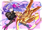 1girl :o absurdres breasts calzooone claw_(weapon) collar fate/extra fate/extra_ccc fate/grand_order fate_(series) gigantic_breasts hair_ribbon highres huge_filesize impossible_clothes looking_at_viewer open_mouth outstretched_arm outstretched_hand passion_lip pink_ribbon purple_hair ribbon solo weapon