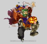 1boy alternate_costume armored_boots bag bandages beard boots bow candy dozla_(fire_emblem) facial_hair fire_emblem fire_emblem:_the_sacred_stones fire_emblem_heroes food full_body gears green_eyes green_hair grey_background halloween_costume kita_senri mustache official_art open_mouth pumpkin scar solo teeth torn_clothes