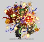 1boy alternate_costume armored_boots bag bandages beard boots bow candy closed_eyes dozla_(fire_emblem) facial_hair fire_emblem fire_emblem:_the_sacred_stones fire_emblem_heroes food full_body glowing glowing_eyes green_hair grey_background halloween_costume kita_senri mustache official_art open_mouth pumpkin scar solo sparkle star teeth torn_clothes