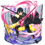1boy alternate_eye_color black_cape black_footwear black_gloves black_hair black_pants blue_rose_sword cape dual_wielding fingerless_gloves full_body gloves hair_between_eyes highres holding holding_sword holding_weapon kirito long_sleeves looking_at_viewer male_focus official_art pants shiny shiny_hair solo standing sword sword_art_online transparent_background weapon yellow_eyes