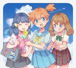 3girls :p :q aircraft airplane aqua_eyes bag bag_charm blue_eyes blue_hair brown_hair charm_(object) closed_eyes condensation_trail cowboy_shot creatures_(company) cute food game_freak hair_ornament hairclip haruka_(pokemon) hikari_(pokemon) ice_cream ice_cream_cone kasumi_(pokemon) long_hair moe multiple_girls nintendo olm_digital open_mouth orange_hair piplup plaid plaid_skirt pleated_skirt pokemon pokemon_(anime) pokemon_(classic_anime) pokemon_(game) pokemon_dppt pokemon_dppt_(anime) pokemon_gsc pokemon_gsc_(anime) pokemon_rgby pokemon_rgby_(anime) pokemon_rse pokemon_rse_(anime) round_teeth s_(happycolor_329) school_bag school_uniform serafuku short_hair side_ponytail skirt sky summer sweater_vest teeth tongue tongue_out tv_tokyo