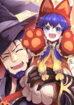 1boy 1girl adorable adult animal_ears beard blue_eyes blue_hair child closed_eyes dress facial_hair father_and_daughter fire_emblem fire_emblem:_fuuin_no_tsurugi fire_emblem:_the_binding_blade fire_emblem:_the_blazing_blade fire_emblem_heroes fire_emblem_sword_of_seals halloween hat hector_(fire_emblem) highres intelligent_systems jewelry lilina lilina_(fire_emblem) long_hair nakabayashi_zun nintendo older open_mouth paw_pose paws short_hair super_smash_bros. wolf_ears wolf_girl younger