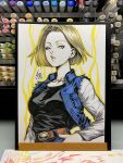 1girl 2019 android_18 arm_at_side belt black_shirt blonde_hair blue_eyes breast_pocket breasts commentary denim denim_jacket denim_skirt dragon_ball dragon_ball_z earrings english_commentary expressionless eyelashes fingernails floating_hair hand_on_hip hoop_earrings jewelry lips long_sleeves looking_at_viewer marker_(medium) medium_breasts outline parted_lips photo pocket shiny shiny_hair shirt short_hair signature simple_background skirt solo stanley_lau straight_hair striped striped_shirt traditional_media waistcoat white_background yellow_outline