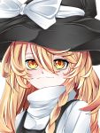 1girl blonde_hair bow braid fall_dommmmmer hat hat_bow highres kirisame_marisa portrait side_braid single_braid touhou witch_hat yellow_eyes