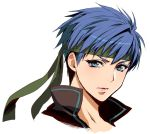 1girl blue_eyes blue_hair fire_emblem fire_emblem:_path_of_radiance fire_emblem:_souen_no_kiseki fire_emblem:_the_blazing_blade genderswap genderswap_(mtf) green_headband headband ike_(fire_emblem) intelligent_systems looking_at_viewer nintendo parted_lips portrait shiny shiny_hair short_hair simple_background solo tomboy white_background yajiro_masaru