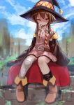 1girl alternate_costume bandaged_leg bandages belt black_cape blush breasts brown_belt brown_footwear brown_hair cape collarbone commentary_request dress haru_(renol) hat highres kono_subarashii_sekai_ni_shukufuku_wo! medium_hair megumin necktie orange_neckwear outdoors pink_dress red_eyes red_neckwear shoes sitting sleeves_past_fingers sleeves_past_wrists small_breasts solo striped striped_neckwear witch_hat