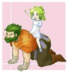1boy 1girl arm_up beard brown_footwear clenched_hand dozla_(fire_emblem) dress facial_hair fire_emblem fire_emblem:_the_sacred_stones fire_emblem_heroes gloves green_eyes green_hair highres l'arachel_(fire_emblem) medium_hair open_mouth pink_background short_sleeves short_twintails shoulder_spikes sidelocks simple_background sitting smile spikes twintails user_sjfs3428 white_dress