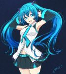 1girl :d absurdres armpits black_skirt black_sleeves blue_background blue_eyes blue_hair blue_neckwear collared_shirt cowboy_shot detached_sleeves dress_shirt floating_hair hair_between_eyes hatsune_miku headphones headset highres long_hair long_sleeves looking_at_viewer microphone midriff miniskirt open_mouth pleated_skirt shirt signature sketch skirt sleeveless sleeveless_shirt smile solo standing stomach thigh-highs twintails very_long_hair vocaloid white_shirt wing_collar ycums zettai_ryouiki