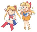 2girls :p ;d aino_minako arm_behind_head bishoujo_senshi_sailor_moon blonde_hair blue_sailor_collar blue_skirt boots bow chibi choker closed_eyes double_bun full_body gloves hair_bow knee_boots knees_together_feet_apart long_hair multiple_girls one_eye_closed open_mouth orange_footwear orange_sailor_collar orange_skirt pleated_skirt red_bow red_footwear sailor_collar sailor_moon sailor_senshi_uniform sailor_venus skirt smile tongue tongue_out tsubobot tsukino_usagi twintails v white_background white_gloves