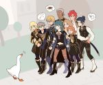 4girls 5boys absurdres annette_fantine_dominic aqua_hair armored_boots ashe_ubert bangs bird black_dress black_footwear black_pants black_vest blonde_hair blue_eyes blunt_bangs boots breasts brown_eyes brown_hair brown_legwear byleth_(fire_emblem) byleth_(fire_emblem)_(female) chestnut_mouth clenched_hand clenched_hands closed_mouth crossover dagger dark_skin dark_skinned_male dedue_molinaro dimitri_alexandre_blaiddyd dress earrings english_commentary eyebrows_visible_through_hair felix_hugo_fraldarius fire_emblem fire_emblem:_three_houses flat_chest flying_sweatdrops full_body gauntlets goose goose_(untitled_goose_game) grass green_eyes grey_footwear grey_hair hair_between_eyes hair_bun hands_up happy heart high_heels highres ingrid_brandl_galatea jewelry jpeg_artifacts long_hair long_sleeves looking_to_the_side mercedes_von_martritz multiple_boys multiple_girls navel navel_cutout nervous notice_lines open_mouth orange_hair outdoors pants pantyhose prinzcake purple_legwear redhead scared shirt short_hair short_sleeves small_breasts speech_bubble standing sweat sword sylvain_jose_gautier talking teeth thought_bubble tied_hair tree untitled_goose_game vambraces vest weapon white_footwear white_shirt