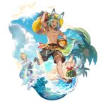 2boys animal_ears aqua_eyes aqua_hair ball bunny_boy clouds coconut coconut_tree crab dragalia_lost euden food fruit full_body jacket looking_at_viewer luca_(dragalia_lost) multiple_boys non-web_source ocean official_art palm_tree rabbit_ears saitou_naoki sand_castle sand_sculpture sandals smile sun swimsuit tree water watermelon