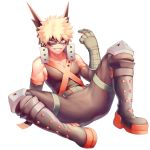 1boy bakugou_katsuki bare_shoulders blonde_hair boku_no_hero_academia commentary_request eye_mask face_mask gloves grin highres looking_at_viewer male_focus mask red_eyes salmon_(657931354) shirt short_hair simple_background smile solo spiky_hair spread_legs teeth white_background