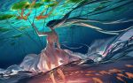 1girl arm_up backless_dress backless_outfit black_hair dress english_commentary fish floating_hair from_behind highres lily_pad long_hair original solo standing underwater watermark web_address wenqing_yan white_dress