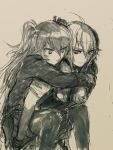 2girls ahoge carrying commentary_request dana_zane eyebrows_visible_through_hair girls_frontline highres long_hair mugitarou multiple_girls piggyback short_hair short_twintails sketch smile super_shorty_(girls_frontline) thigh-highs twintails va-11_hall-a