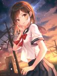 1girl artist_name black_skirt bow bowtie breasts brown_eyes brown_hair building clouds cloudy_sky gradient_sky hand_on_own_cheek highres looking_at_viewer medium_hair meteor_shower midriff_peek navel original outdoors parted_lips pleated_skirt power_lines sailor_collar school_uniform serafuku shirt shirt_overhang short_sleeves skirt sky solo soyubee star_(sky) starry_sky sunset telephone_pole upper_body white_shirt