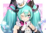 1girl :> aqua_eyes aqua_hair bare_shoulders blush bow bowtie commentary diamond_(shape) facial_tattoo finger_to_mouth framed_breasts frilled_neckwear gloves hair_ornament hat hatsune_miku hokuotzu index_finger_raised long_hair looking_to_the_side magical_mirai_(vocaloid) mini_hat mini_top_hat neck_ruff one_eye_closed pink_neckwear solo star star_in_eye symbol_in_eye tattoo top_hat twintails upper_body very_long_hair vocaloid white_gloves white_headwear wrist_cuffs