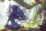 1girl blue_gloves breasts bug butterfly falchion_(fire_emblem) fingerless_gloves fire_emblem fire_emblem_awakening gloves grass insect long_hair looking_at_viewer looking_back lucina lucina_(fire_emblem) mitsu_(mitsu_art) sitting solo sunlight sword tiara tree wariza water waterfall weapon wrist_cuffs
